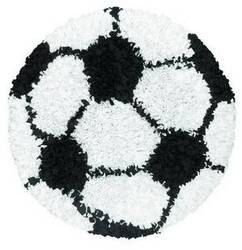 The Rug Market America Kids Shaggy Raggy Soccer Ball 02253 Black/white Area Rug
