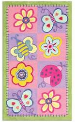 The Rug Market America Kids Flowers & Butterflies 11705 Green/pink/lavender Area Rug