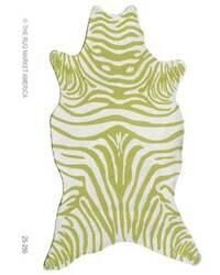 The Rug Market America Resort Zebra Green Shaped 25256 Green/white Area Rug