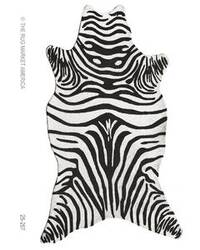 The Rug Market America Resort Zebra Black Shaped 25257 Black/white Area Rug