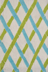 The Rug Market America Pop Accents Bamboo Green/White/Blue Area Rug