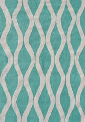 The Rug Market America Pop Accents Squiggle Turquoise/White Area Rug