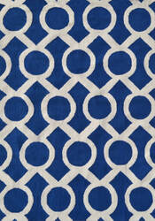 The Rug Market America Pop Accents Medal Navy/White Area Rug