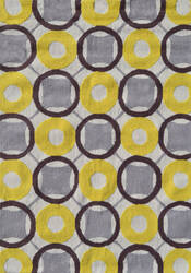 The Rug Market America Pop Accents Rounders Yellow/White/Taupe Area Rug